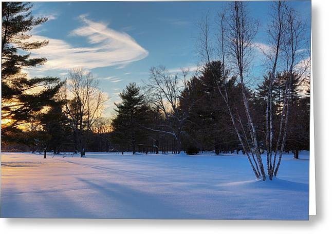 New England Winter Greeting Cards - Sunset Shadows Greeting Card by Bill  Wakeley