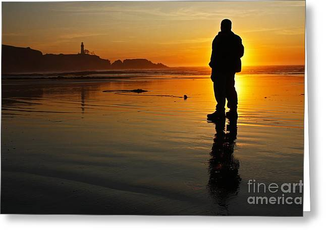 Sunset Silhouette At Yaquina Head Thirty Nine Greeting Card by Donald Sewell