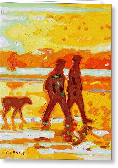 Sunset Silhouette Carmel Beach With Dog Greeting Card by Thomas Bertram POOLE