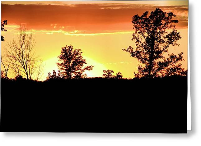 Jogging Greeting Cards - Sunset Silhouette Greeting Card by Dan Sproul