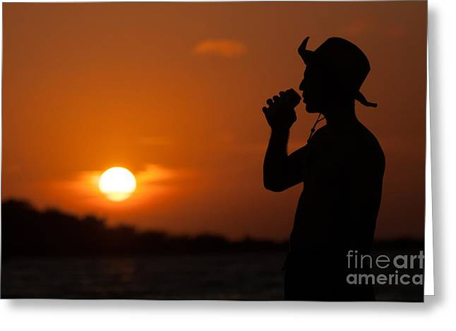 Fishing Hat Greeting Cards - Sunset Silhouette Greeting Card by Richard Mason