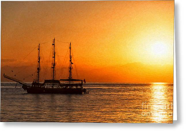 Cruise Vacation Greeting Cards - Sunset Silhouette Ship Digital Painting Greeting Card by Antony McAulay