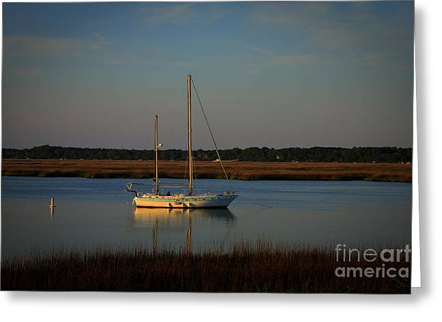Sailboats In Harbor Greeting Cards - Sunset Sailboat at Beaufort SC Greeting Card by Reid Callaway