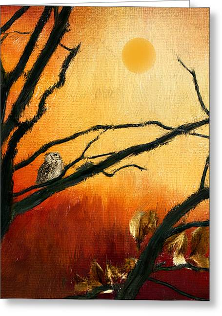 Owl Decor Greeting Cards - Sunset Sitting Greeting Card by Lourry Legarde