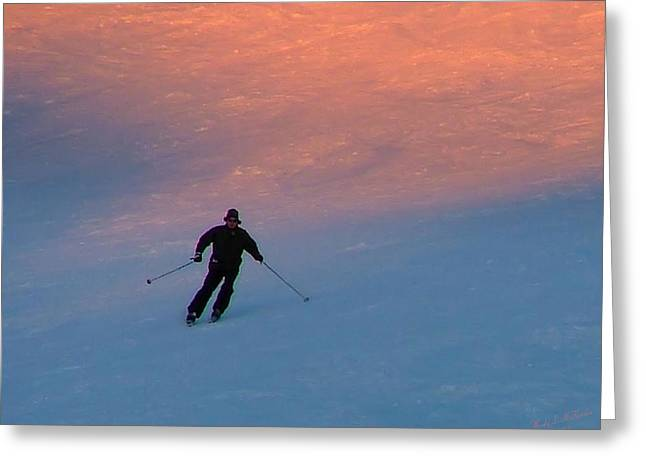 Action Ski Art Greeting Cards - Sunset Skier Greeting Card by Wendy McKennon