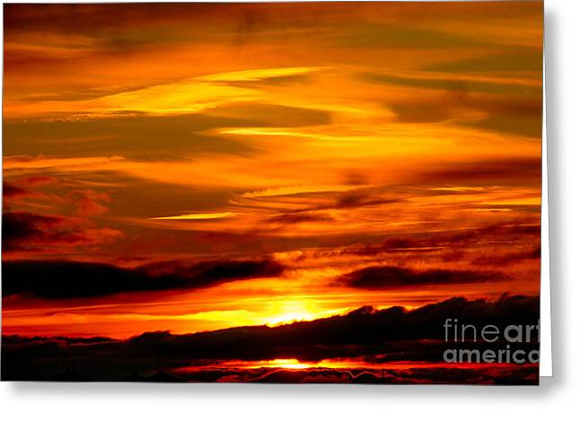 Sunset Sky In Yellow And Red Greeting Card by Kerstin Ivarsson