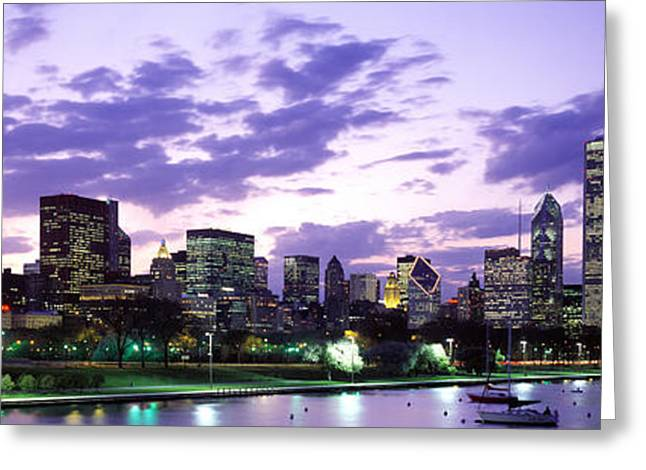 Brightly Lit Greeting Cards - Sunset, Sky, Skyline, Twilight, Downtown, City Scene, Loop Greeting Card by Panoramic Images