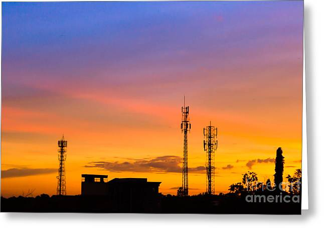 Radar Waves Greeting Cards - Sunset Sky With Silhouette Antenna Greeting Card by Apichart Meesri