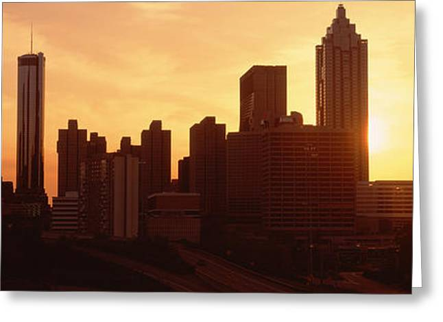 Roadway Photographs Greeting Cards - Sunset Skyline, Atlanta, Georgia, Usa Greeting Card by Panoramic Images