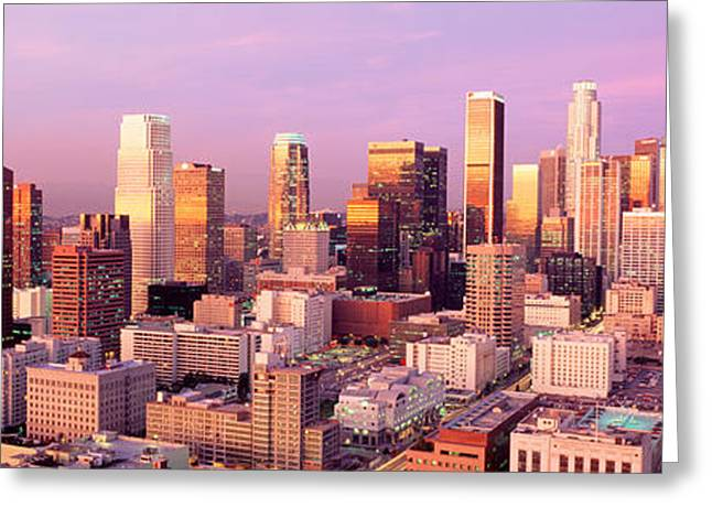 Sprawl Greeting Cards - Sunset Skyline Los Angeles Ca Usa Greeting Card by Panoramic Images