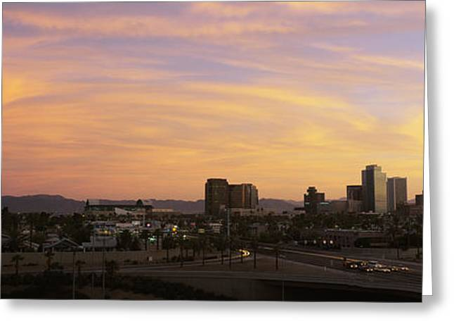 Phoenix Architecture Greeting Cards - Sunset Skyline Phoenix Az Usa Greeting Card by Panoramic Images