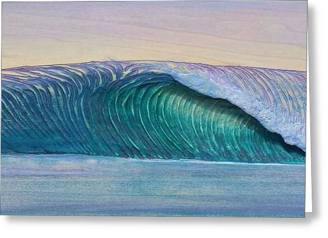 Surfing Art Greeting Cards - Sunset Slab Greeting Card by Nathan Ledyard