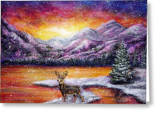 Kinkade Greeting Cards - Sunset Snow Greeting Card by Ann Marie Bone
