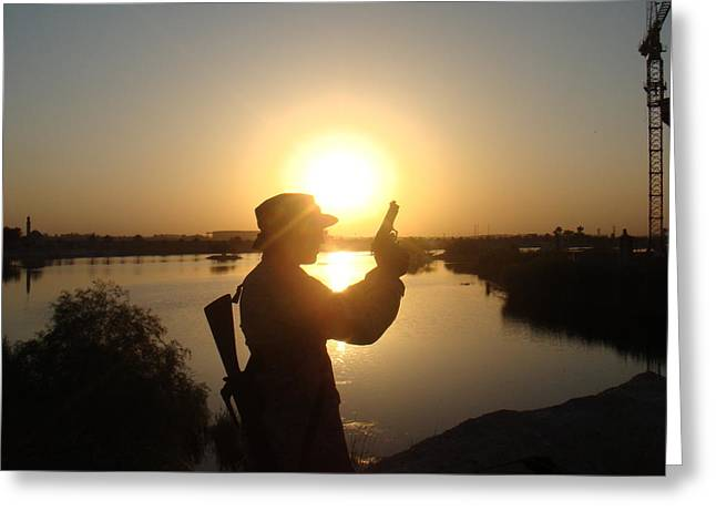 Baghdad Greeting Cards - Sunset Soldier Greeting Card by Sharla Fossen