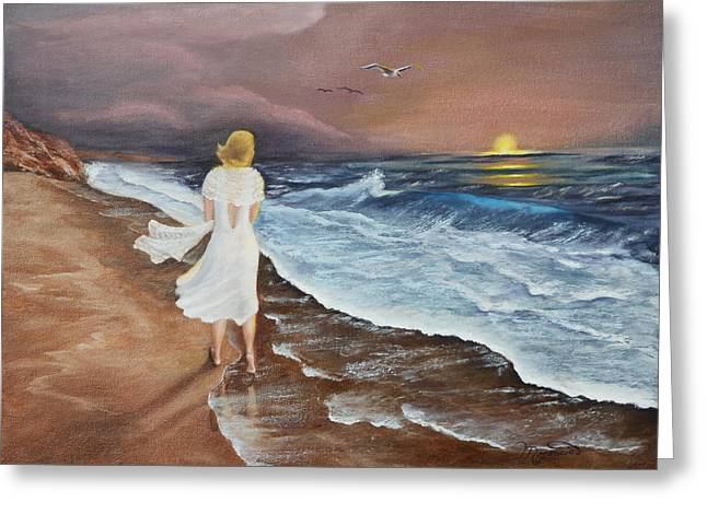 Blonde Hair Blowing In The Wind Greeting Cards - Sunset Solitude Greeting Card by Lou Magoncia