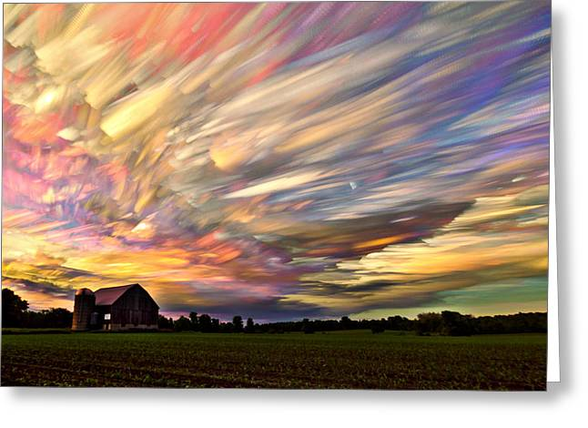 Barns Greeting Cards - Sunset Spectrum Greeting Card by Matt Molloy