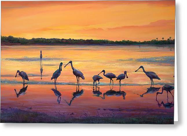 Wetland Greeting Cards - Sunset Spoonbills Greeting Card by Laurie Hein