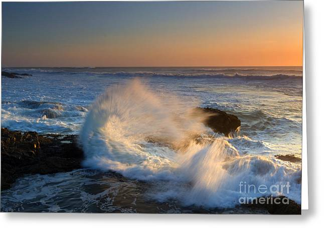 Sunset Spray Greeting Card by Mike Dawson