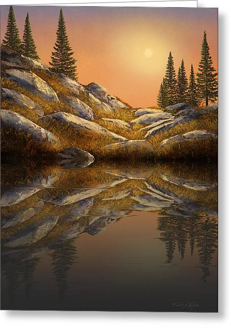 Gouache Photographs Greeting Cards - Sunset Spruces Reflections Greeting Card by Frank Wilson