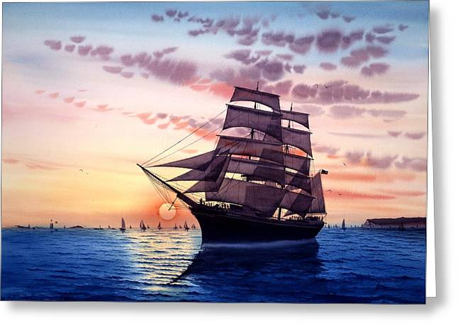 Images Of San Diego Greeting Cards - Sunset Star Of India Greeting Card by John YATO
