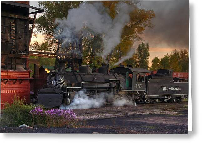 Narrow Gauge Greeting Cards - Sunset Steam Greeting Card by Ken Smith