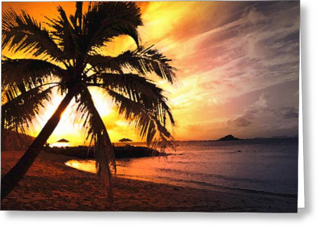 Steve Huang Greeting Cards - Sunset Greeting Card by Steve Huang