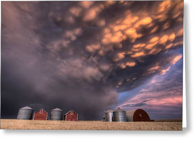 Thunderstorm Digital Art Greeting Cards - Sunset Storm Clouds Canada Greeting Card by Mark Duffy