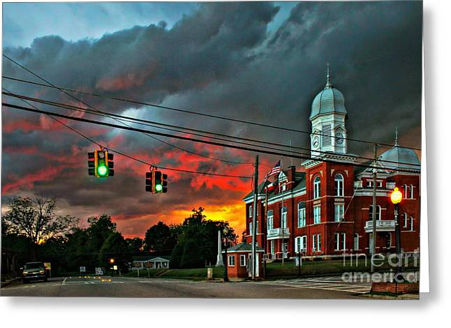 Terrible Greeting Cards - Sunset Storm Taliaferro County Court House Greeting Card by Reid Callaway