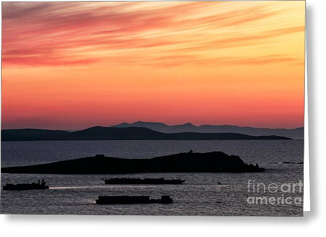Sunset Posters Greeting Cards - Sunset Streaks in the Sky at Mykonos Greeting Card by John Rizzuto