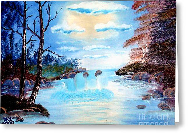 Bob Ross Paintings Greeting Cards - Sunset Stream Greeting Card by Dave Atkins