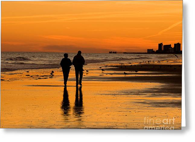 Walk On The Beach Greeting Cards - Sunset Stroll Greeting Card by Al Powell Photography USA
