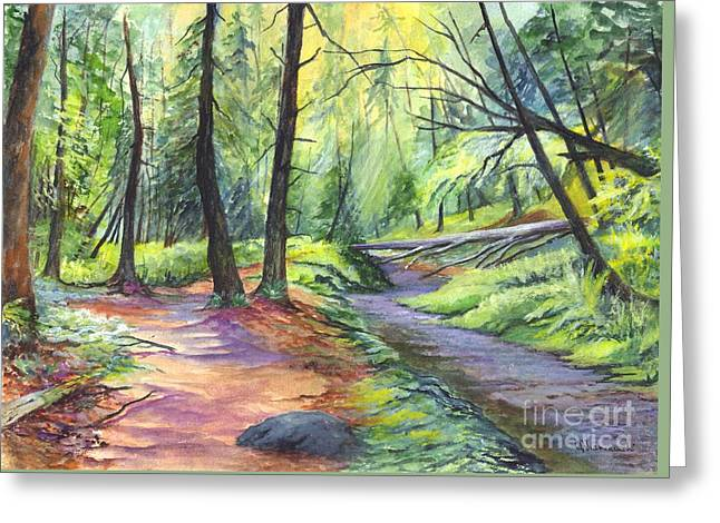 Landscape Posters Greeting Cards - Sunset Stroll  Greeting Card by Carol Wisniewski