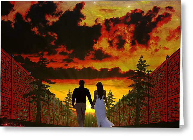 Sunset Stroll Greeting Card by Michael Rucker