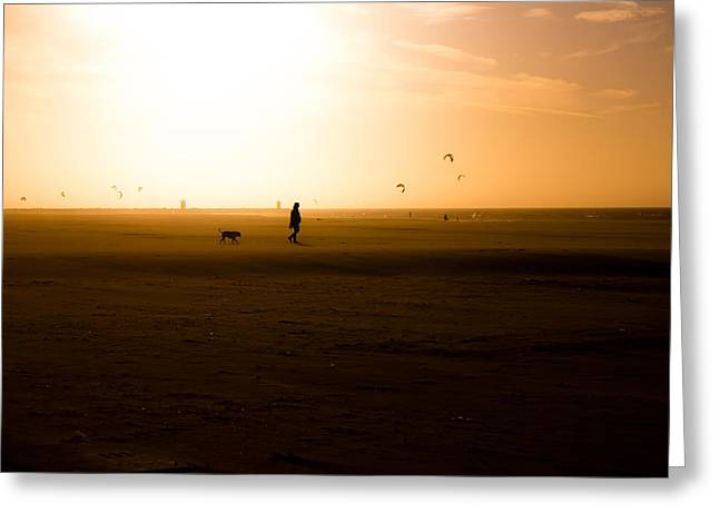 Dog Walking Photographs Greeting Cards - Sunset Stroll Greeting Card by Mountain Dreams