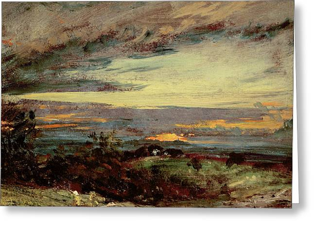 Harrow Greeting Cards - Sunset study of Hampstead Greeting Card by John Constable