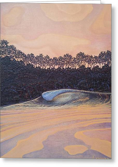 Sunset Seascape Reliefs Greeting Cards - Sunset Surf Greeting Card by Nathan Ledyard