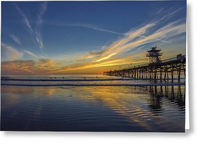 San Clemente California Greeting Cards - Sunset Surf Greeting Card by Sean Foster
