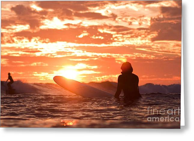 Surf Lifestyle Greeting Cards - Sunset Surf Session Greeting Card by Paul Topp