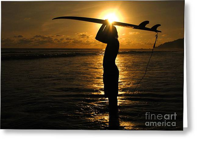 Surfing Photos Greeting Cards - Sunset Surfer Corcovado Costa Rica Greeting Card by Bob Christopher