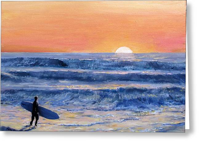 Jack Skinner Paintings Greeting Cards - Sunset Surfer Greeting Card by Jack Skinner