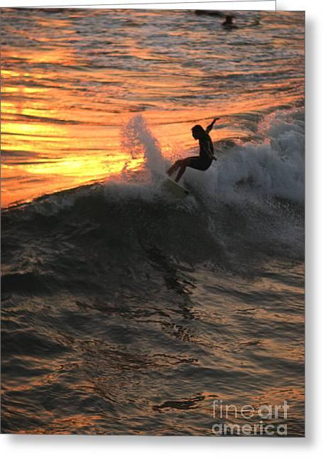 California Beaches Greeting Cards - Sunset Surfers Greeting Card by John Tsumas