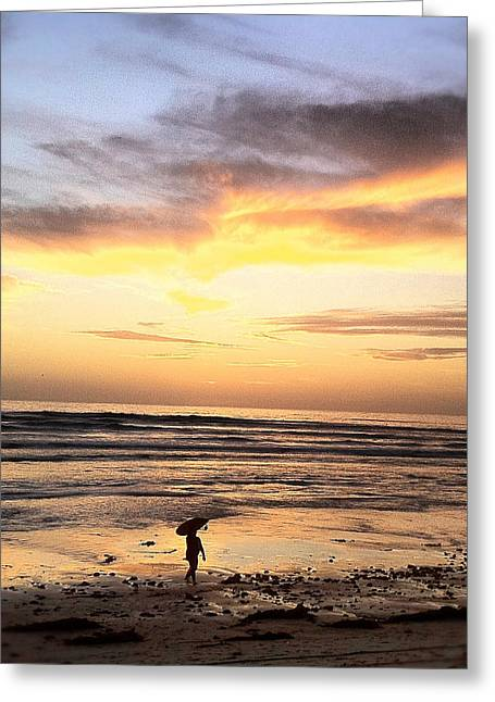 Sunset Framed Prints Greeting Cards - Sunset Surfer Greeting Card by Paul Carter