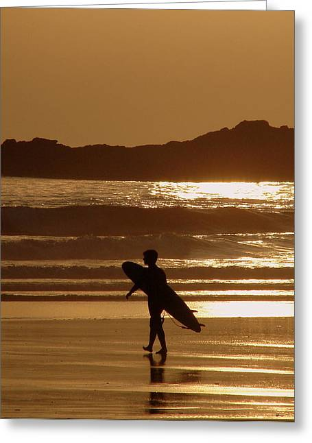Californian Greeting Cards - Sunset Surfer Greeting Card by Ramona Johnston