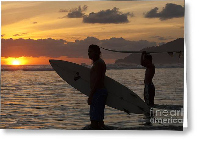 Canadian Sports Art Greeting Cards - Sunset Surfers Corcovado Costa Rica 2 Greeting Card by Bob Christopher