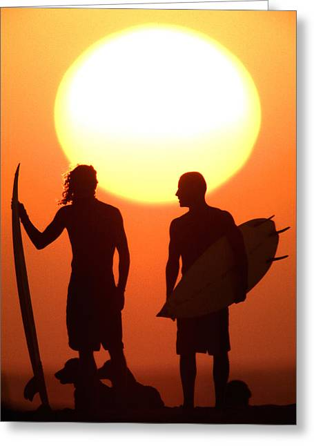 Surf Lifestyle Greeting Cards - Sunset Surfers Greeting Card by Sean Davey