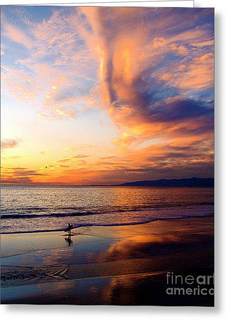 Jerome Stumphauzer Greeting Cards - Sunset Surfing Greeting Card by Jerome Stumphauzer