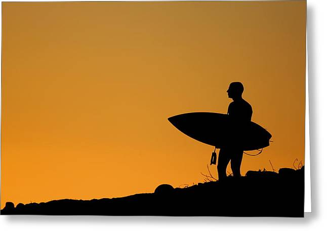 Sunset Surfing Greeting Card by Liz Vernand