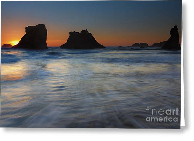 Bandon Greeting Cards - Sunset Surge Greeting Card by Mike  Dawson