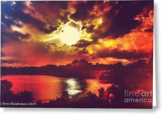 Light And Dark Greeting Cards - Sunset Surreal Art Greeting Card by Ron Fleishman