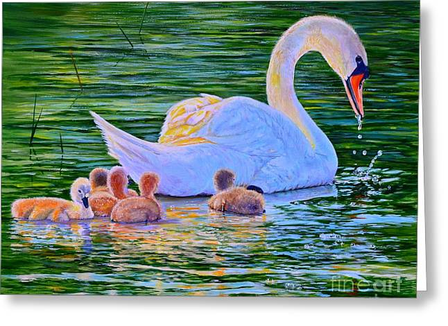 Water Fowl Greeting Cards - Sunset Swan Family Greeting Card by AnnaJo Vahle